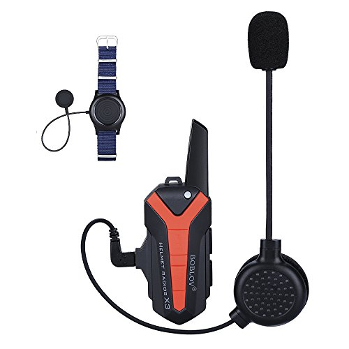 Helmet Headset Motorcycle Communication Intercome for Riding and Skiing 3KM Range Support Multiple Riders Walkie-Talkie with PTT Wireless Control 16 Channels Waterproof (For full helmet(motorcycle))