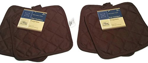 Pack of Four (4) Brown Home Store Cotton Pot Holders (2 Sets of 2)