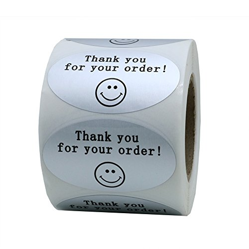 Hybsk 50mm30mm Oval Silver Metallic Foil THANK YOU FOR YOUR ORDER Retail Mailing Stickers 500 Labels Per Roll (1 Roll)