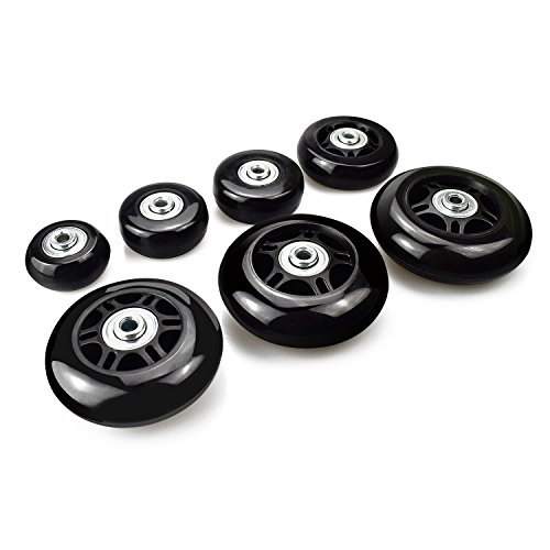 B.LeekS Luggage Suitcase Wheels with ABEC 608zz Bearings, Inline Outdoor Skate Replacement Wheels with Multiple Sizes, One Set of (2) Wheels 76mm × 24mm