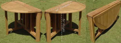 TeakStation Grade-A Teak Wood 48 Round Butterfly Outdoor Patio Dining Table TSDT48