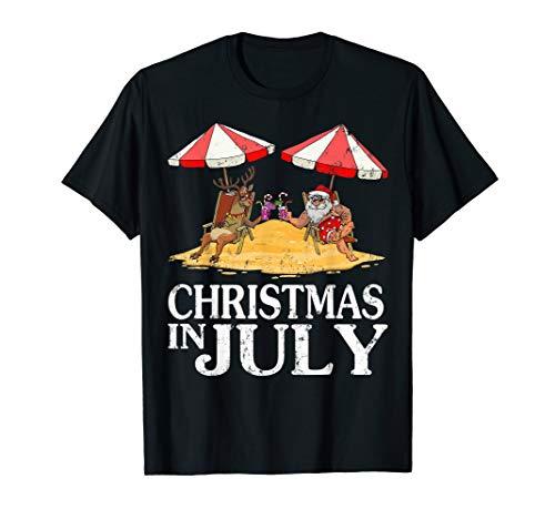 Hawaiian Summer Party Santa Reindeer Christmas In July Funny T-Shirt
