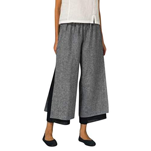 CCatyam Plus Size Pants for Women, Wide Leg Yoga Trousers Solid Sexy Loose Daily Casual Fashion Gray]()
