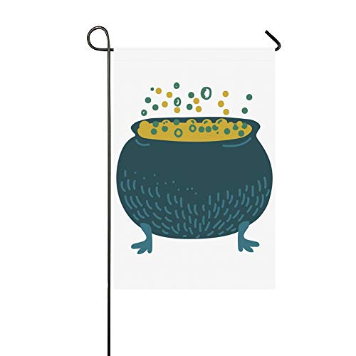 Jnseff Home Decorative Outdoor Camping Garden Flag Double Sided Print Witch Cauldron Boiling Potion Magic Object Garden Flags Home Valentines Day Garden Flag 12x18 Inch Spring Summer Gift ()