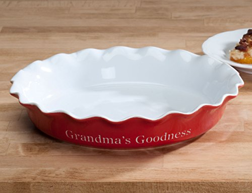 Personalized Red Ceramic Pie Dish & Personalized Pie Plate. Personalized Red Ceramic Pie Dish.