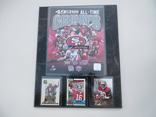SAN FRANCISCO 49ERS ALL-TIME GREATS PHOTO PLUS 3 PLAYER CARDS MOUNTED ON A 12