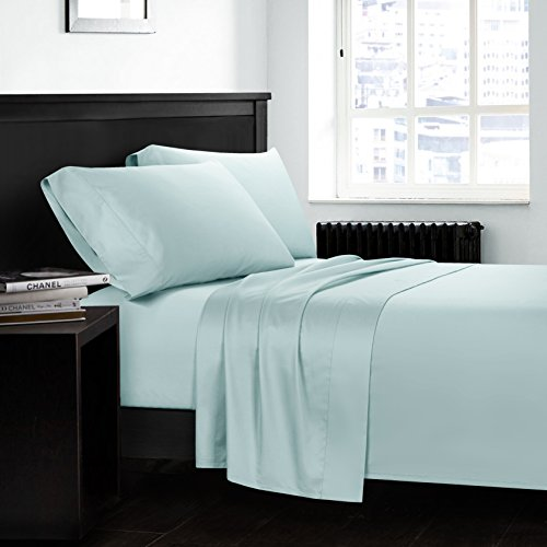 CASA BOLAJ DESIGNED TO DREAM Aqua Sheet Set 4 Pieces Egyptian Cotton Luxury Sateen 400 Thread Count Soft Premium Classy Deep Pocket All Around Elastic(Aqua,King) (Bringing Your Own Sheets To A Hotel)