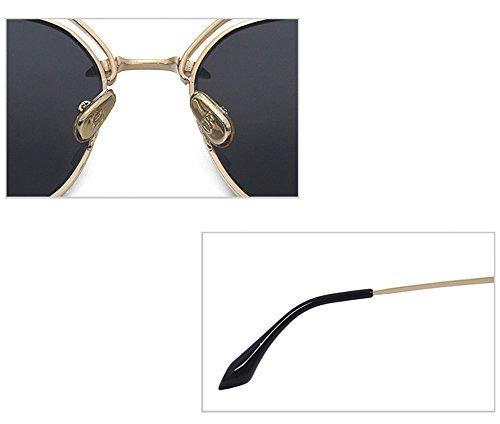 sol gris de de conducción de Gafas Playa espejos lentes gris Lentes de sol color colores oro borde de portátil Bastidor Gafas gafas con gafas con Moda Señoras oro color Grande de de DESESHENME borde p10nTHx