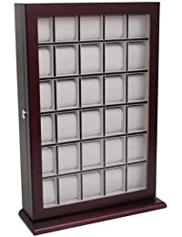 30 Piece Cherry Wood Watch Display Wall Hanging Case and Storage Organizer Box and Stand