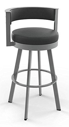 (Amisco Browser Swivel Counter Stool in Glossy Gray Metal Finish)