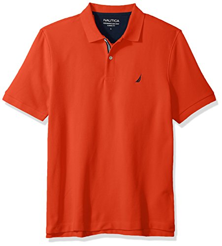 Nautica Men's Classic Short Sleeve Solid Polo Shirt, Spicy Orange, ()
