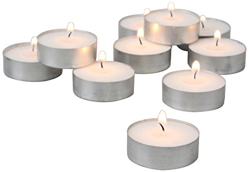 Stonebriar 4 Hour White Unscented Long Burning Tea Light Candles, Candle Accessories for Birthdays, Weddings, Spas, or Everyday Home Decor, Bulk 150 ()
