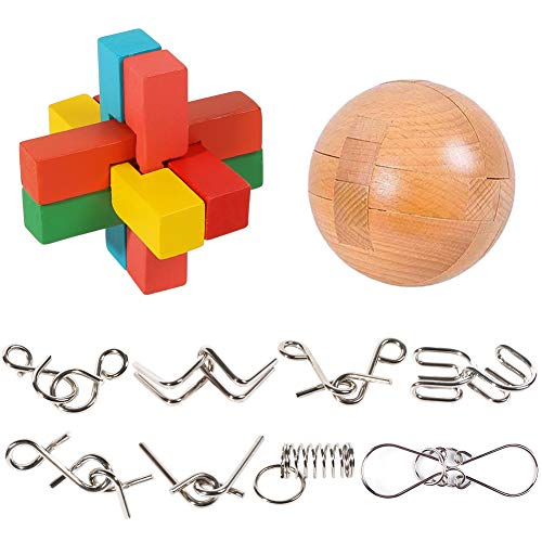 3 otters Brain Teaser Puzzle, Wooden Puzzle Ball Unlock Interlock Game 10PCS Brain Teasers Toys Adult Decompression Children Unlock Toy