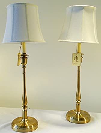 Pair Of Two Ralph Lauren Home Darien Candlestick Antiqued Brass / Gold Table  Lamps With White Lamp Shades