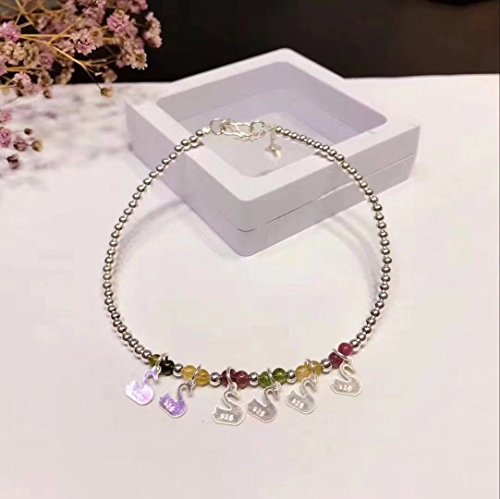 TKHNE buns natural tourmaline silver Foot Chain anklet ankle chain s925 sterling silver tassels lovely swan design ()