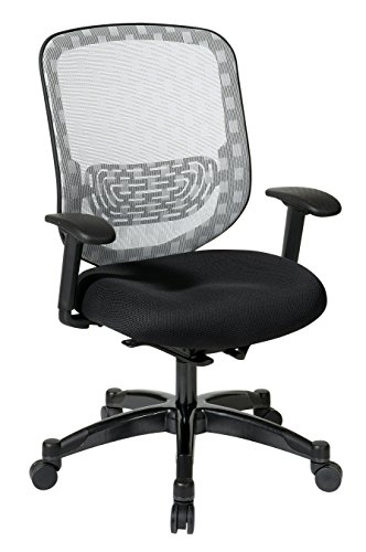 SPACE Seating DuraFlex White Back and Black Padded Mesh Seat, Self Adjusting 4-to-1 Synchro Tilt with Gunmetal Finish Managers Chair