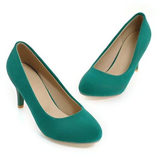 COOLCEPT Zapato Mujer Simple Tacon de Aguja Sin Cordones Tacon Ancho medio Court Zapatos Verde
