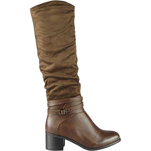 Damen-High-Heel aus Velourslederimitat, knielange Stiefel, braun - braun - Größe: 36