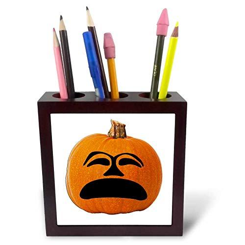 3dRose Sandy Mertens Halloween Food Designs - Jack o Lantern Unhappy Sad Face Halloween Pumpkin, 3drsmm - 5 inch Tile Pen Holder (ph_290216_1) -