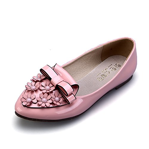 Decoration Leather Flat Ballet Smilun Pink Ballerina Patent Loop Flowers Women's E6RtExwqX8