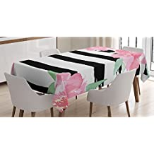 Floral Tablecloth by Ambesonne, Watercolor Peony Flowers with Black Brush Strokes Romantic Spring Print, Dining Room Kitchen Rectangular Table Cover, 60W X 84L Inches, Light Pink Black White