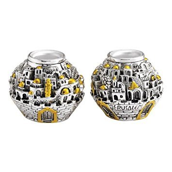 Jerusalem Designed Tea Light Candle Holders Ball Shaped - 925 Silver Electroforming
