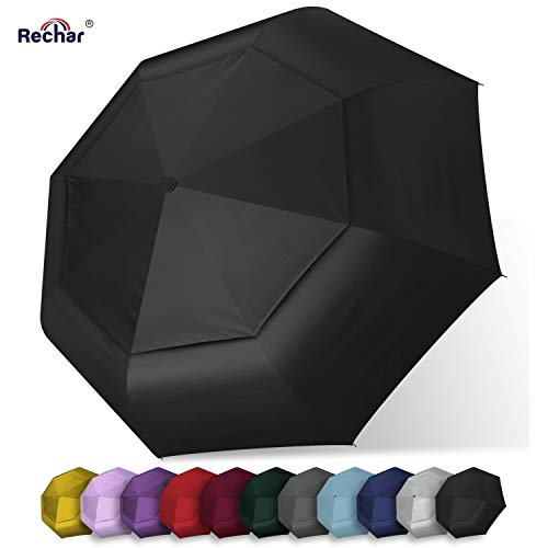 Rechar Large Windproof Travel Umbrella for rain Extra Large Oversize Double Canopy Totes Umbrellas for Women Men Unbreakable Compact Umbrella 1-Year Quality -