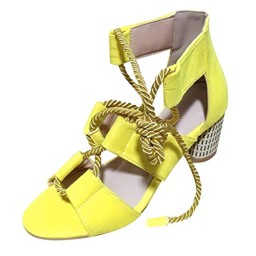 Women Sandals, Summer Rome High Heels Shoes Hemp Rope Ankle Strap Open Toe Sandals Beach Travel Shoes Fashion Sandals Shoes Yellow -