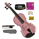 GRACE 1/10 Size Acoustic Pink Violin with Case and Bow+Merano MT60 Metro Tuner+Extra E String+2 Bridges+Rosin