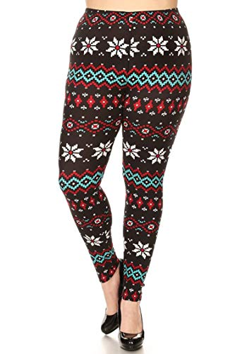 Leggings Mania Women's Plus Christmas High Waist Leggings Black Trees