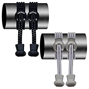 AKTIVX SPORTS LACES - No Tie Elastic Shoelaces that Lock, Replacement Running Shoelaces for Men, Women,Adults, Seniors & Kids Sneakers, Cleats, Boots (2-Pack) (Black, Grey)