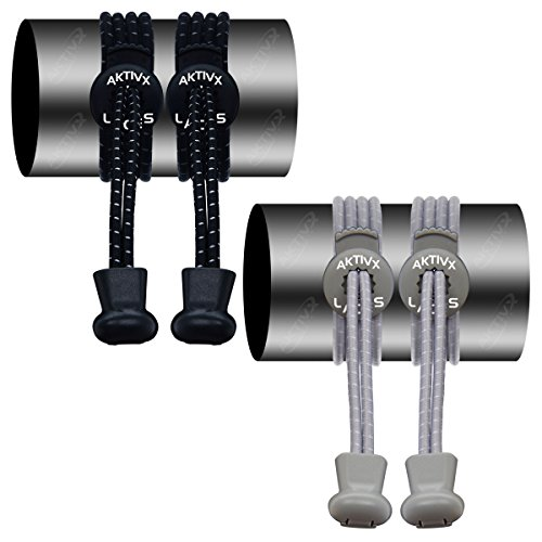 AKTIVX SPORTS LACES No Tie Elastic Shoelaces that Lock, Replacement Running Shoelaces for Men, Women,Adults, Seniors & Kids Sneakers, Cleats, Boots (2 Pack)