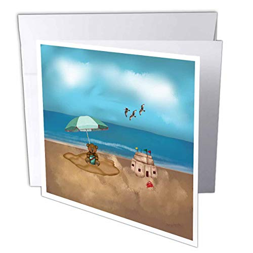 3dRose Beverly Turner at The Beach - Bear with Bucket at Beach Under an Umbrella, Sand Castle, Crab, Birds - 6 Greeting Cards with envelopes (gc_313314_1)