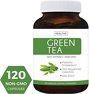 Best Green Tea Extract | NON-GMO | Double Value - 120 Capsules | 45% EGCG - 75% Polyphenol Catechins | Natural Fat Burner & Weight Loss Supplement | Diet Pills | Potent Antioxidant | ECGC