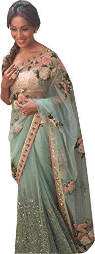 Rekha Ethnic Shop Sea Green Color Heavy New Designer Sari Ladies Wedding Wear Saree