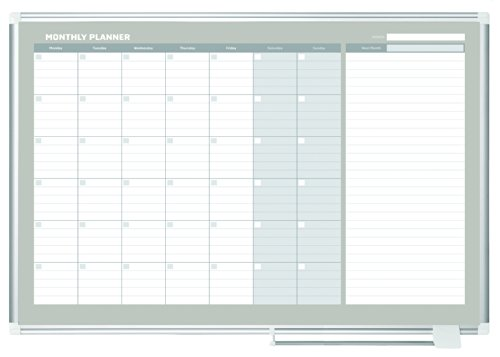 """MasterVision Planning Board Magnetic Dry Erase, Monthly Calendar Board with Aluminum Frame, 36"""" x 48"""""""