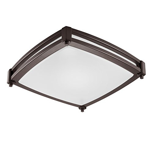 - GetInLight LED Flush Mount Ceiling Light, 14-Inch, 20W(100W Equivalent), Bronze Finish, 3000K(Soft White), Dimmable, Square, Dry Location Rated, ETL Listed, IN-0317-2-BZ