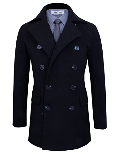 Tom's Ware Men's Stylish Wool Blend Pea Coat TWCC05LQ-D076J-BLACK-US XL