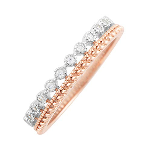 Rose Gold Tone & Silver Double Row Cz Eternity Ring - Size ()