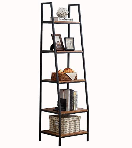 O&K FURNITURE 5-Tier Ladder Shelf, Ladder Shelves, Rustic Corner Bookshelf, Leaning Bookcases and Book Shelves, Modern Storage Rack and Shelving Unit-72