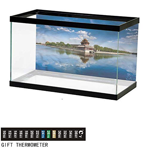 """bybyhome Fish Tank Backdrop Ancient China,Architecture History,Aquarium Background,36"""" L X 24"""" H(92x61cm) Thermometer Sticker"""