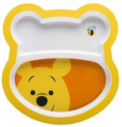 Zak Designs 2-Piece Winnie The Pooh Shaped Plate Set (Divided Tag Dish)