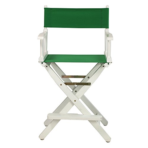 Casual-Home-24-Inch-Director-Chair-White-Frame-Green-Canvas