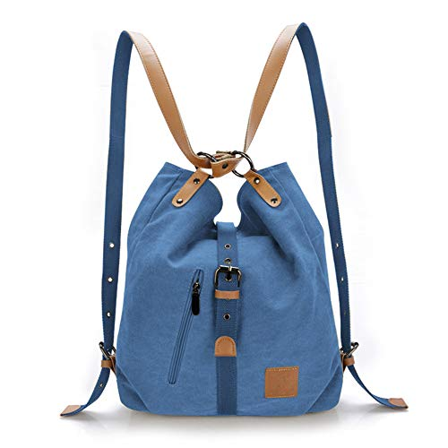 Vintage Backpack 3 for Daily School and 1 Shouler Lady Canvas Multifunctional Shopping Travel in Blue Large Bag Life GINDOLY Work Bag Handbag gAqpxdpw
