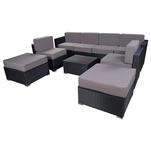 Mcombo Patio Furniture Sectional Set Outdoor Wicker Sofa Lawn Rattan Conversation Chair with 6 I ...