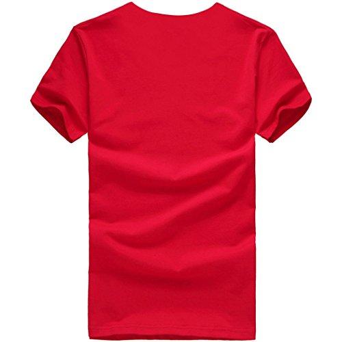T Adeshop Impression Manches Rouge Hommes Couleur Gilet À Chemisier Blouse Top Occasionnel Coton Pure Courtes Été shirt Col Chemise Ligne Rond En qrwfrEX