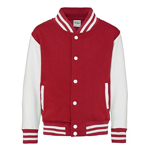 Kid's Varsity Jacket COLOUR Fire Red/White SIZE 5 TO 6