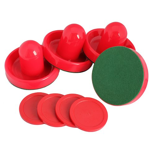Pack of 4 Air Hockey Table Goalies with 4 Pucks Felt Pusher Mallet Grip (Type 2)