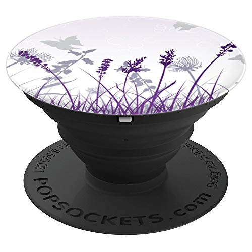 (Purple Tonic Violet Winter Bloom Lavender Mist Wildflowers - PopSockets Grip and Stand for Phones and Tablets)