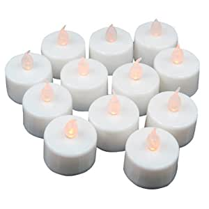 12 Flickering Candle Set Runs on Batteries Flickers Like a Real Candle Battery Operated Tealight Candles Flameless Candle Wedding Tea Light One Dozen Long Lasting Batterry Life